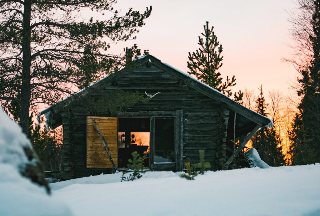 cottage surrounded by trees and snow